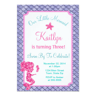Mermaid Birthday Invitation Girl Pink Glitter