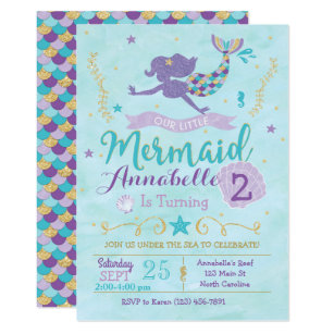 Mermaid Birthday Invitation Invite