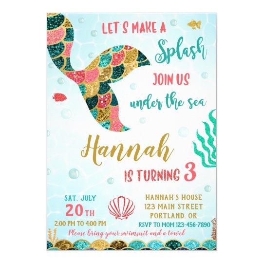 Mermaid Birthday Invitation Under The Sea Invite