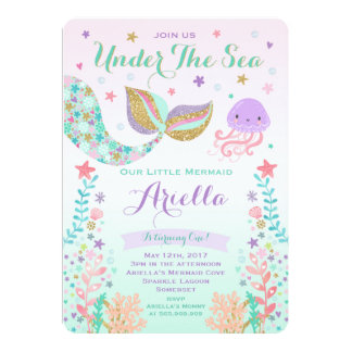 mermaid birthday invitation under the sea party - Little Mermaid Party Invitations