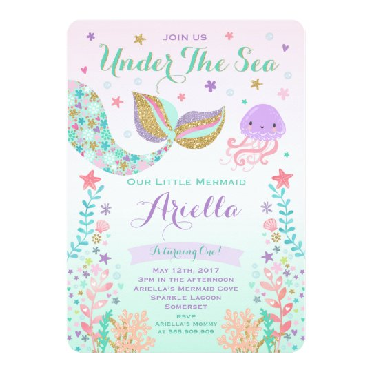 mermaid birthday invitation under the sea party zazzle com