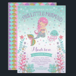 "Mermaid Birthday Invitation Under The Sea Party<br><div class=""desc"">Mermaid Birthday Under The Sea Party Invitation Purple Blue Pink Gold Sparkle.  Designs are all &#169; PIXEL PERFECTION PARTY LTD</div>"