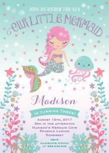 Girl birthday invitations zazzle mermaid birthday invitation under the sea party filmwisefo