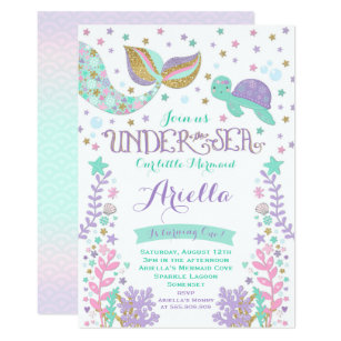 Birthday invitations zazzle mermaid birthday invitation under the sea party stopboris Choice Image