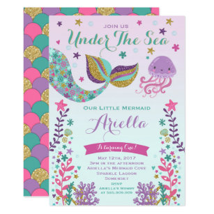 Under the sea birthday party invitations announcements zazzle mermaid birthday invitation under the sea party stopboris Images