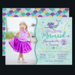 "Mermaid Birthday Invite With Photo<br><div class=""desc"">This purple,  teal and gold invitation is perfect for a Mermaid Birthday Party! Customize with your photo and details!</div>"