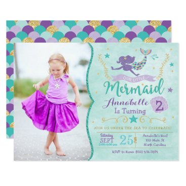 YourMainEvent Mermaid Birthday Invite With Photo