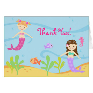 Mermaid BIrthday Kids Folded Thank You Note Cards