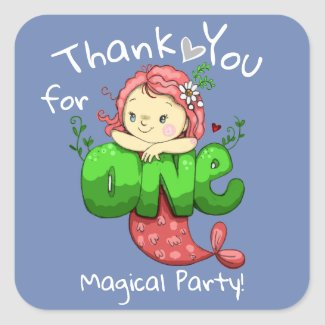 Mermaid Birthday One Magical Party Thank You Square Sticker
