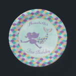 """Mermaid Birthday Paper Plates<br><div class=""""desc"""">These purple,  teal and gold mermaid paper plates are great for your under the sea mermaid birthday party!</div>"""