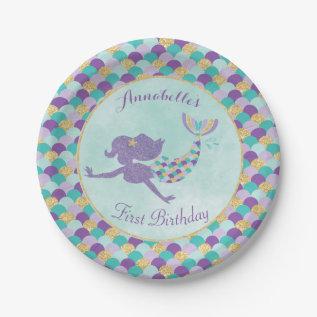 Mermaid Birthday Paper Plates at Zazzle