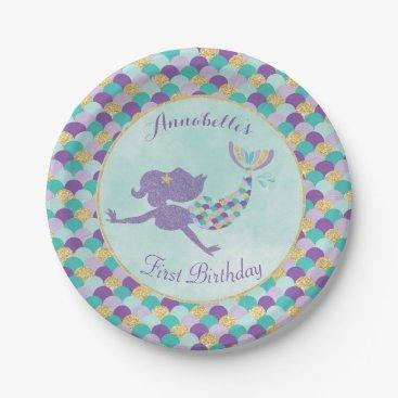 birthday Mermaid Birthday Paper Plates