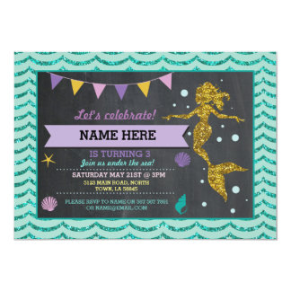 Mermaid Birthday Party Gold Glitter Sea Invitation