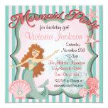 "Mermaid Birthday Party Invitation 5.25"" Square Invitation Card"