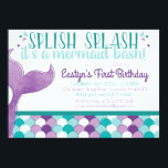 "Mermaid Birthday Party Invitation<br><div class=""desc"">Celebrate with a splash with this birthday party invitation! Your little mermaid will love this fun way to invite her friends to her birthday celebration.</div>"