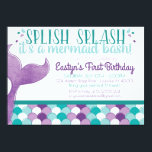 """Mermaid Birthday Party Invitation<br><div class=""""desc"""">Celebrate with a splash with this birthday party invitation! Your little mermaid will love this fun way to invite her friends to her birthday celebration.</div>"""
