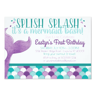 Mermaid Birthday Invitations Announcements Zazzle