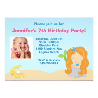 """Mermaid Birthday Party Invitation 5"""" X 7"""" Invitation Card"""