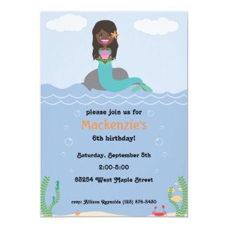 Mermaid Birthday Party Invitation - Dark/Darkest