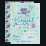 "Mermaid Birthday Party Invitation Purple Teal Gold<br><div class=""desc"">This purple,  teal and gold mermaid invitation is perfect for your under the sea celebration! Customize with your details to create a one of a kind birthday mermaid tail invite!</div>"