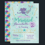 """Mermaid Birthday Party Invitation Purple Teal Gold<br><div class=""""desc"""">This purple,  teal and gold mermaid invitation is perfect for your under the sea celebration! Customize with your details to create a one of a kind birthday mermaid tail invite!</div>"""