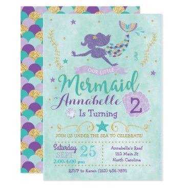 YourMainEvent Mermaid Birthday Party Invitation Purple Teal Gold