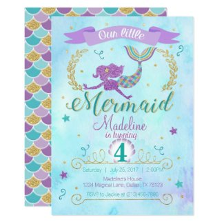 Mermaid Birthday Party Invitation Purple Teal Gold