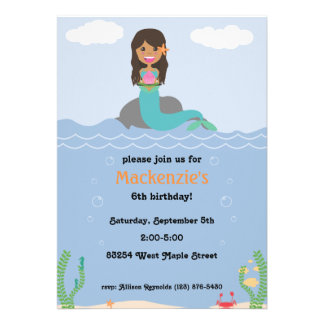 Mermaid Birthday Party Invitation - Tan/Dark Brown