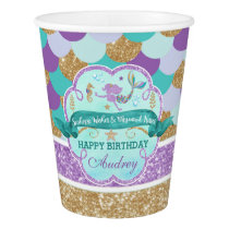Mermaid Birthday Party Personalized Paper Cup