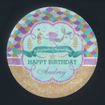 """Mermaid Birthday Party Personalized Paper Plate<br><div class=""""desc"""">Mermaid Birthday Party Personalized Paper Plate</div>"""