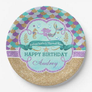 Mermaid Birthday Party Personalized Paper Plate  sc 1 st  Zazzle & 9\