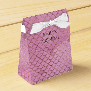 Beach Themed Mermaid Birthday Party Personalized Pink Gold Favor Box