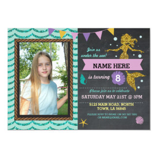 Mermaid Birthday Party Photo Gold Glitter Invite