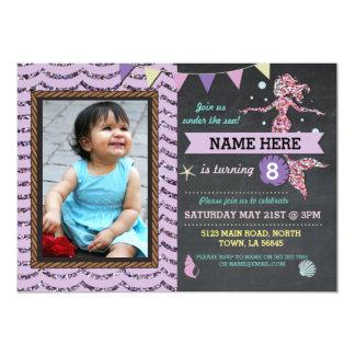 Mermaid Birthday Party Photo Purple Glitter Invite
