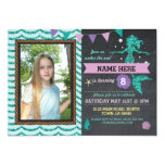 Mermaid Birthday Party Photo Sea Glitter Invite