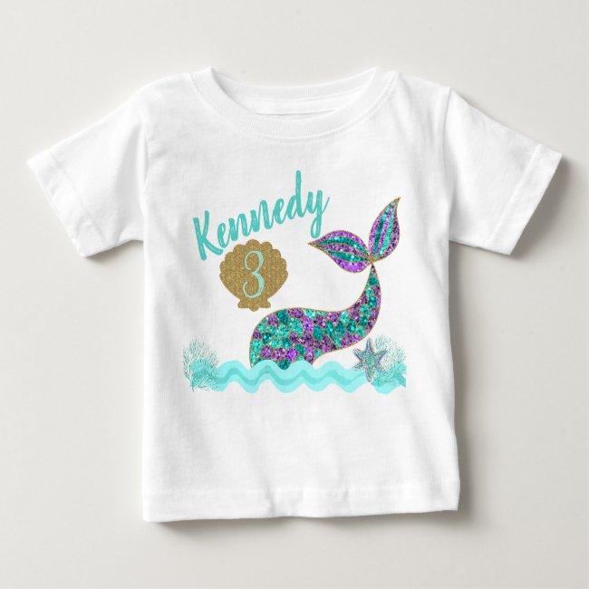 Mermaid birthday party t-shirt, custom baby T-Shirt