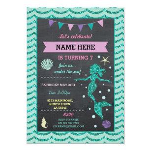 Mermaid Birthday Party Teal Pin Glitter Sea Invite