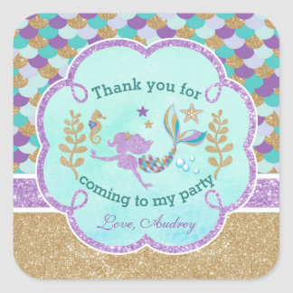 Mermaid Birthday Party Thank you Favor Sticker