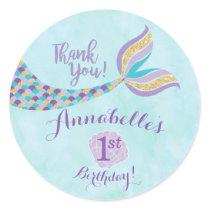Mermaid Birthday Round Stickers   Party Favor
