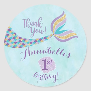 YourMainEvent Mermaid Birthday Round Stickers | Party Favor