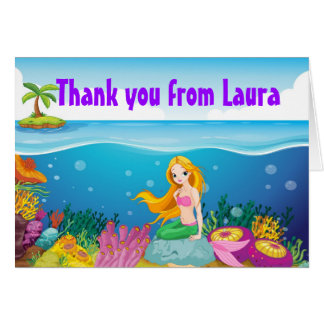Mermaid Birthday Thank You Note Card