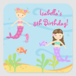 Mermaid Birthtday Party Favor Stickers Labels Kids