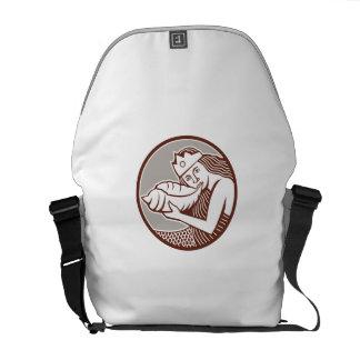 Mermaid Blowing Conch Shell Circle Retro Messenger Bag