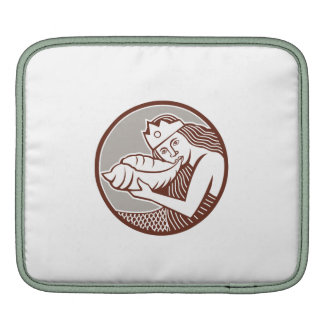 Mermaid Blowing Conch Shell Circle Retro Sleeves For iPads