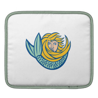 Mermaid Blowing Shell Circle Retro Sleeves For iPads