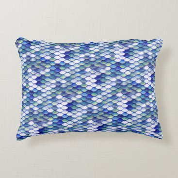 Beach Themed Mermaid Blue Skin Pattern Accent Pillow
