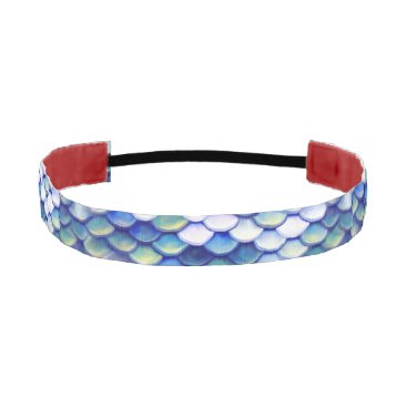 Beach Themed Mermaid Blue Skin Pattern Athletic Headband