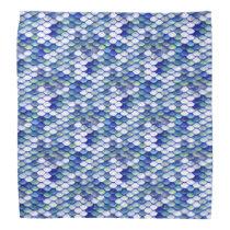 Mermaid Blue Skin Pattern Bandana