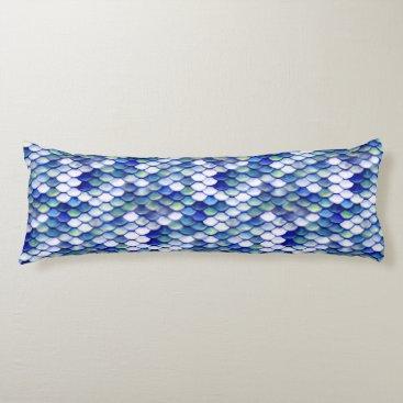 Beach Themed Mermaid Blue Skin Pattern Body Pillow