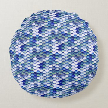 Beach Themed Mermaid Blue Skin Pattern Round Pillow